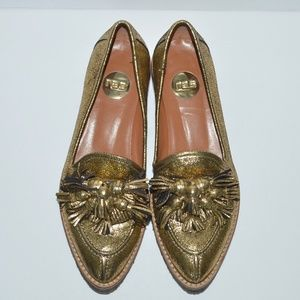 RAS Gold Cracked Pattern Loafers Made in Spain 38